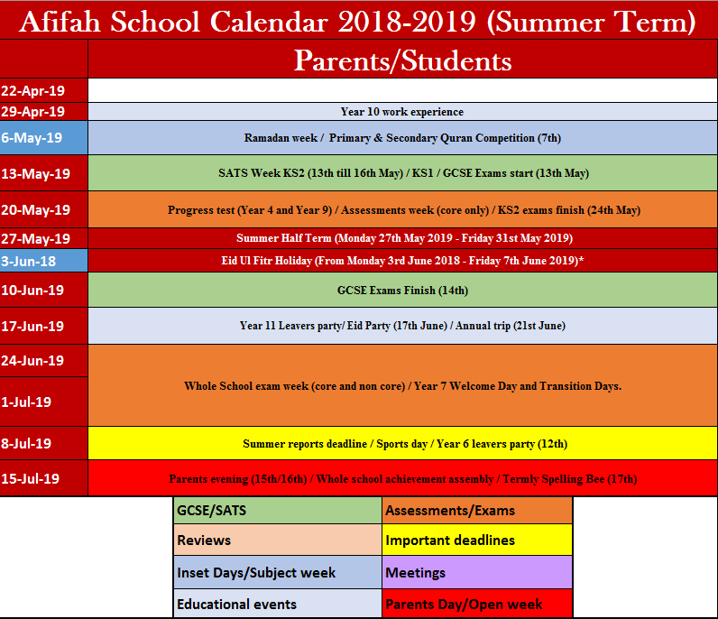 Calendar – Afifah School
